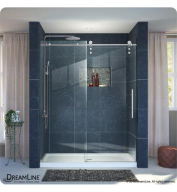 "DreamLine DL-6628L-08CL Enigma-Z Fully Frameless Sliding Shower Door and Single Threshold Shower Base With Finish: Polished Stainless Steel And Dimensions: W 60"" x D 36"" And Drain Position: Left Hand Drain"