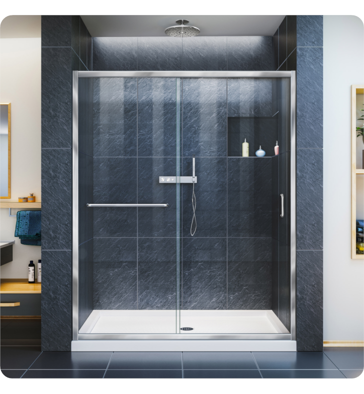 "DreamLine DL-6970L-04CL Infinity-Z Frameless Sliding Shower Door and Single Threshold Shower Base With Finish: Brushed Nickel And Dimensions: W 60"" x D 30"" x H 74 3/4"" And Drain Position: Left Hand Drain And Shower Base: White Acrylic Shower Base And Glass Type: Clear Glass"