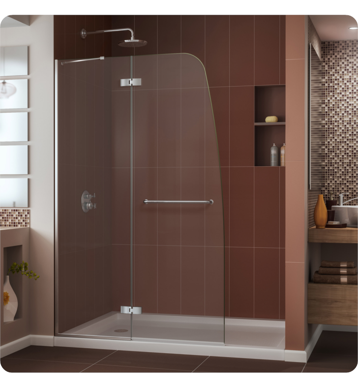 "DreamLine DL-6524C-04CL Aqua Ultra Frameless Hinged Shower Door and Base Kit. Single Threshold Shower Base With Finish: Brushed Nickel And Dimensions: W 48"" x D 36"" x H 74 3/4"" And Drain Position: Center Drain And Shower Base: White Acrylic Shower Base"