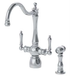 "Franke FFS4 Farm House 14"" Double Lever Handle Deck Mounted Kitchen Faucet with Side Spray"