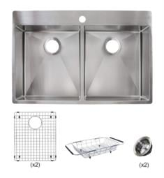 "Franke HF3322-1KIT Vector 33 1/2"" Double Bowl Drop-In/Undermount Stainless Steel Kitchen Sink Kit from Home Collection"