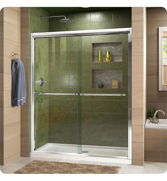 "DreamLine DL-6952L-01CL Duet Frameless Bypass Sliding Shower Door and Single Threshold Shower Base With Finish: Chrome And Dimensions: W 48"" x D 36"" x H 75 3/4"" And Drain Position: Left Hand Drain And Shower Base: White Acrylic Shower Base"