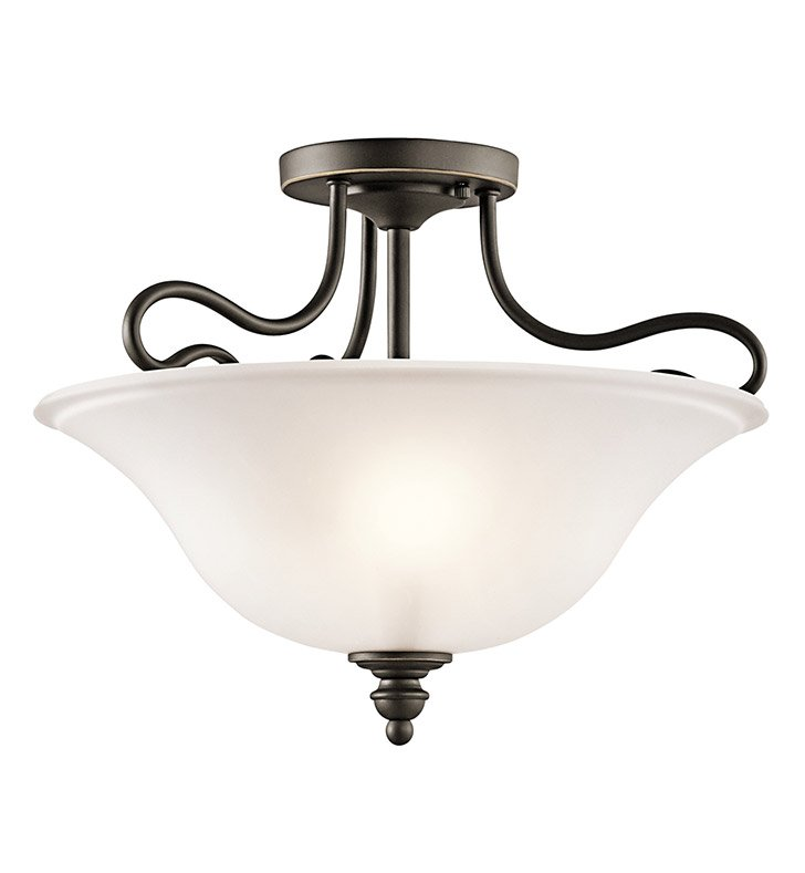 Kichler 42900OZ Tanglewood Collection Semi-Flush 2 Light in Olde Bronze
