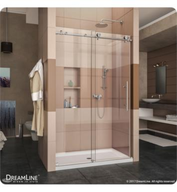 "DreamLine DL-6620R-08CL Enigma-X Fully Frameless Sliding Shower Door and Single Threshold Shower Base With Finish: Polished Stainless Steel And Dimensions: W 60"" x D 30"" x H 78 3/4"" And Drain Position: Right Drain"