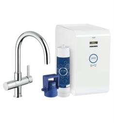 "Grohe 31251 Blue 16"" Single Hole Deck Mounted Kitchen Faucet with Chilled & Sparkling Starter kit"