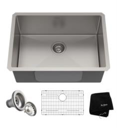 "Kraus KHU100-26 Standart Pro 26"" Single Bowl Undermount 16 Gauge Stainless Steel Kitchen Sink with Noisedefend Soundproofing"