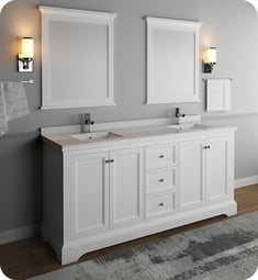 "Fresca FVN2472WHM Windsor 72"" Matte White Traditional Double Sink Bathroom Vanity with Mirrors"