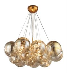 "Dimond Lighting 1140-010 Cielo 3 Light 33"" Incandescent One Tier Clear Glass Shade Chandelier in Antique Gold Leaf"