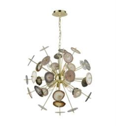 "Dimond Lighting D3370 Galileo 6 Light 28"" Incandescent One Tier Chandelier in Bright Gold/Natural Agate"