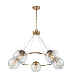 "Dimond Lighting 1141-076 Surface To Air 5 Light 38"" Incandescent One Tier Clear Glass Shade Chandelier in Aged Brass"