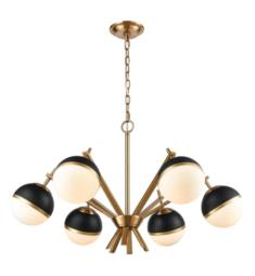 "Dimond Lighting 1141-074 Blind Tiger 6 Light 32"" Incandescent One Tier Chandelier in Aged Brass"