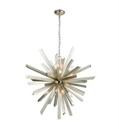 "Dimond Lighting 1141-073 Cataclysm 8 Light 30"" Incandescent One Tier Chandelier in Silver Leaf"