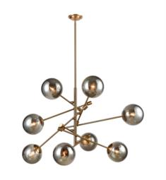 "Dimond Lighting 1141-082 Accelerated Returns 8 Light 34"" Incandescent One Tier Plated Smoke Glass Shade Chandelier in Aged Brass"