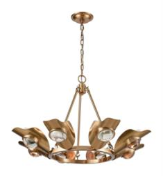 "Dimond Lighting 1141-068 Spectacle 8 Light 30"" Incandescent One Tier Clear Crystal Chandelier in Aged Brass"