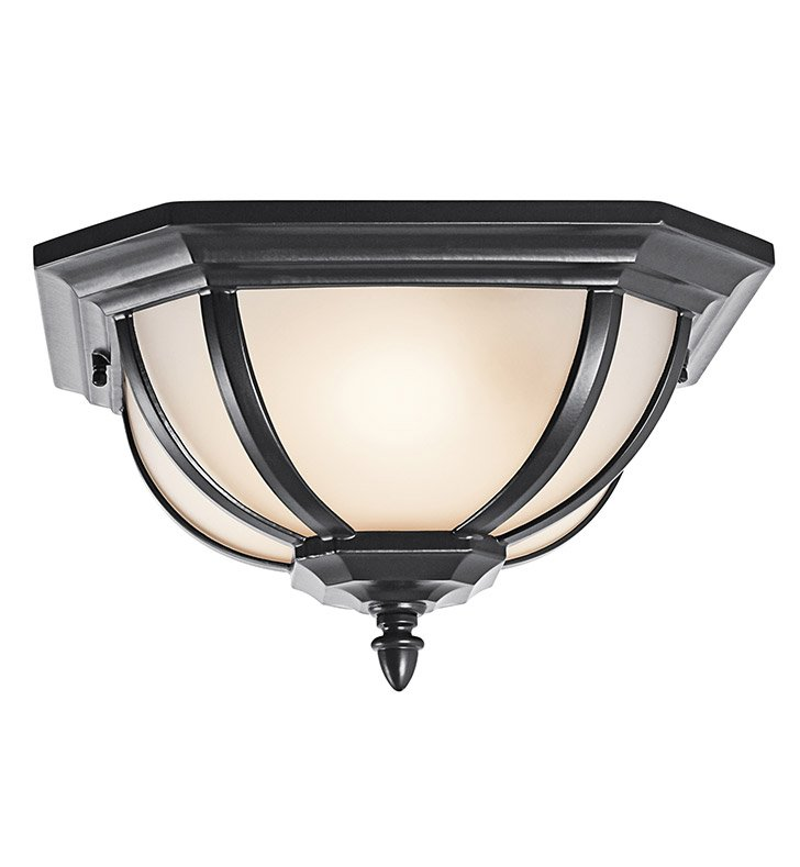 Kichler 9848BKS Outdoor Flush Mount 2 Light in Black