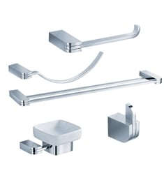 Fresca FAC1300-D Solido 5 Piece Bathroom Accessory Set in Chrome with Double Towel Bar