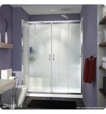 "DreamLine DL-6112C-01CL Visions Frameless Sliding Shower Door, Single Threshold Shower Base and QWALL-5 Shower Backwall Kit With Finish: Chrome And Dimensions: D 30"" And Drain Position: Center Drain"