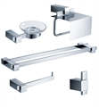 Fresca FAC1400-D Ellite 5 Piece Bathroom Accessory Set in Chrome with Double Towel Bar