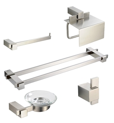 Fresca FAC1400BN-D Ellite 5 Piece Bathroom Accessory Set in Brushed Nickel with Double Towel Bar