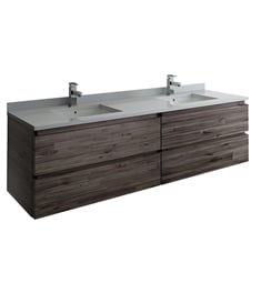 "Fresca FCB31-3636ACA-CWH-U Formosa 72"" Wall Hung Double Sink Modern Bathroom Cabinet with Top & Sink"