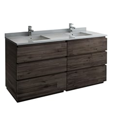 "Fresca FCB31-3636ACA-FC-CWH-U Formosa 72"" Floor Standing Modern Bathroom Cabinet with Top & Sink"