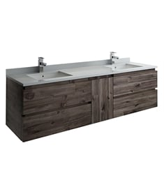 "Fresca FCB31-301230ACA-CWH-U Formosa 72"" Wall Hung Double Sink Modern Bathroom Cabinet with Top & Sink"