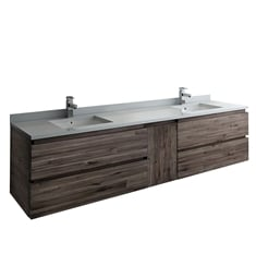 "Fresca FCB31-361236ACA-CWH-U Formosa 84"" Wall Hung Double Sink Modern Bathroom Cabinet with Top & Sink"