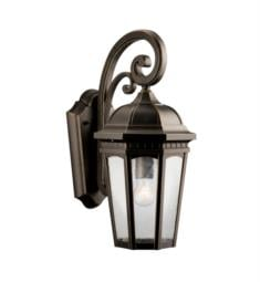 "Kichler 9033RZ Courtyard 1 Light 8 1/4"" Incandescent Outdoor Wall Sconce in Textured Black"