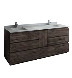 "Fresca FCB31-361236ACA-FC-CWH-U Formosa 84"" Floor Standing Double Sink Modern Bathroom Cabinet with Top & Sink"