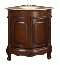 "Silkroad Exclusive LTP-0126B-T-UWC-32 Hannah 24"" Ceramic Undermount Single Sink Corner Bathroom Vanity with Travertine Top"