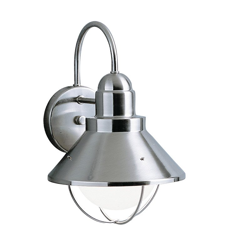 Kichler 9022NI Seaside Collection 1 Light Outdoor Wall Sconce in Brushed Nickel