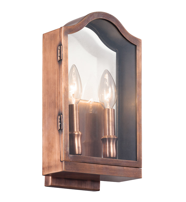 Kichler 49154ACO Antico Collection 2 Light Outdoor Wall Sconce in Antique Copper