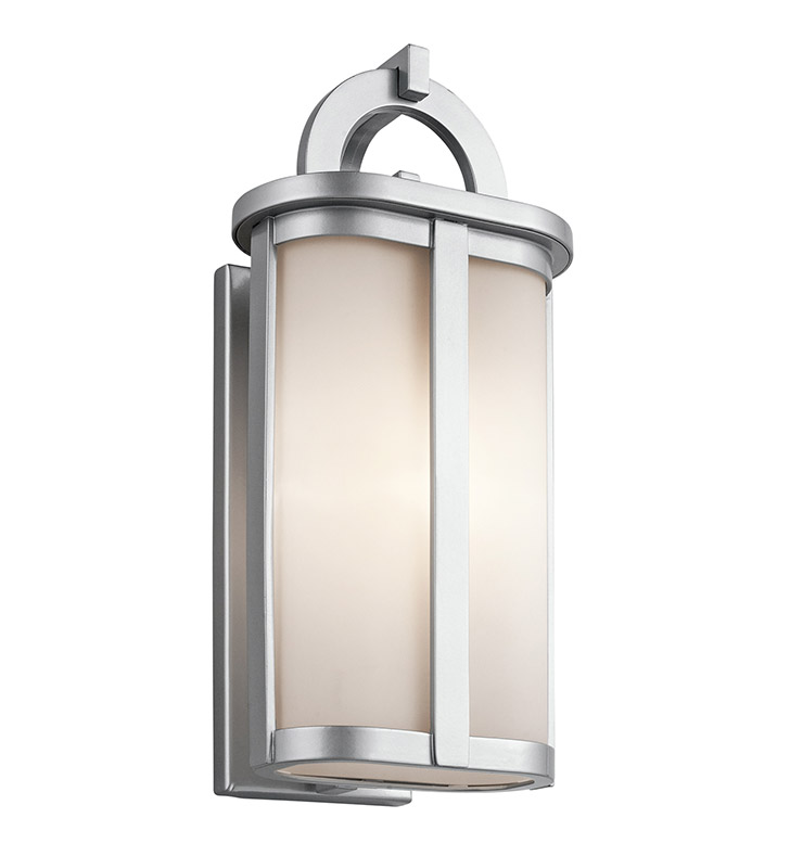 Kichler 49469PL Rivera Collection 1 Light Outdoor Wall Sconce in Platinum