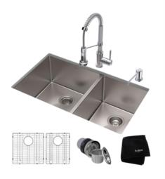 "Kraus KHU103-33-1610-53 Standart Pro 32 3/4"" Double Bowl Undermount Kitchen Sink with Commercial Pull-Down Kitchen Faucet"