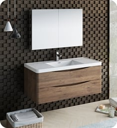 "Fresca FVN9048RW Tuscany 48"" Rosewood Wall Hung Modern Bathroom Vanity with Medicine Cabinet"