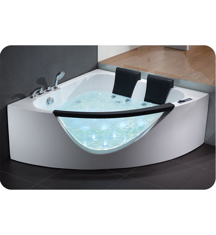 Eago AM199 5 foot Rounded Clear Modern Double Seat Corner Whirlpool ...