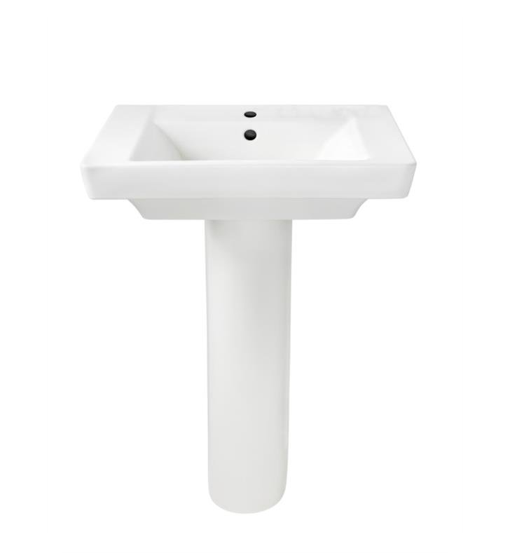 "American Standard 0641800.222 Boulevard 24 Inch Pedestal Sink With Finish: Linen And Faucet Holes: 8"" centers"