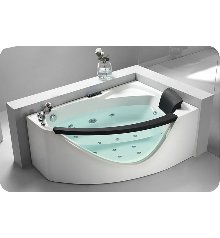Eago AM198-L 5 foot Left Drain Rounded Clear Modern Corner Whirlpool Bath Tub with Fixtures