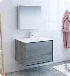 "Fresca FVN9236OG Catania 36"" Ocean Gray Wall Hung Modern Bathroom Vanity with Medicine Cabinet"