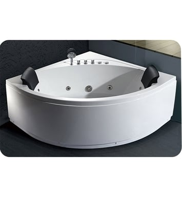 Eago AM200 5 foot Rounded Modern Double Seat Corner Whirlpool Bath Tub with Fixtures