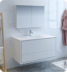 "Fresca FVN9248WH Catania 48"" Glossy White Wall Hung Modern Bathroom Vanity with Medicine Cabinet"