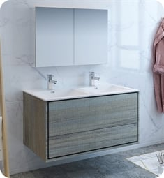"Fresca FVN9248OG-D Catania 48"" Ocean Gray Wall Hung Double Sink Modern Bathroom Vanity with Medicine Cabinet"