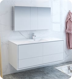 "Fresca FVN9260WH-S Catania 60"" Glossy White Wall Hung Single Sink Modern Bathroom Vanity with Medicine Cabinet"