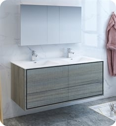 "Fresca FVN9260OG-D Catania 60"" Ocean Gray Wall Hung Double Sink Modern Bathroom Vanity with Medicine Cabinet"