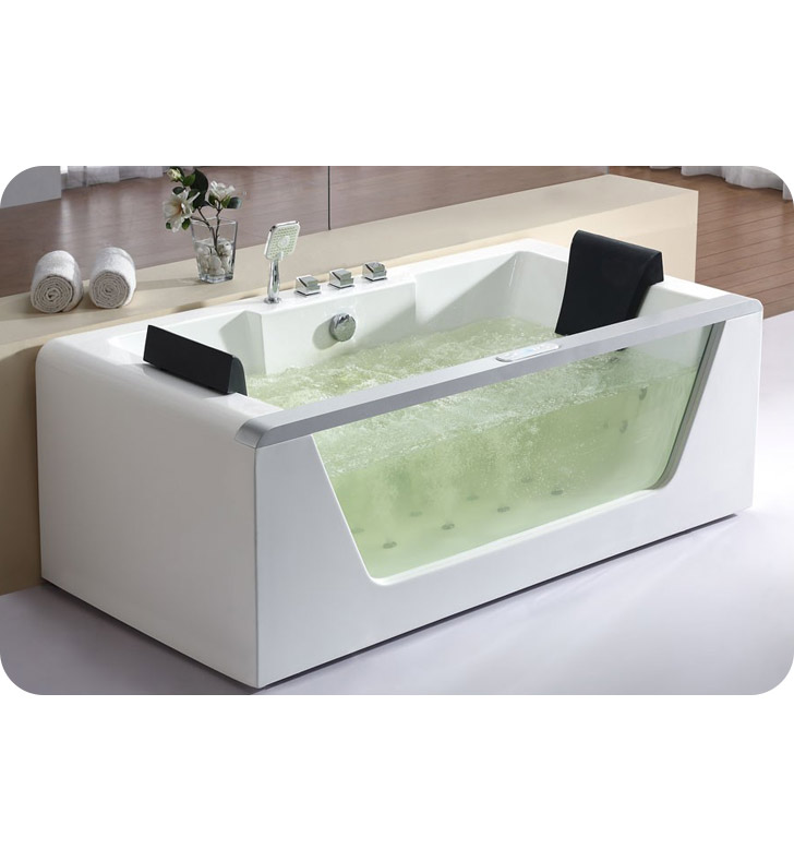 Eago AM196HO 6 foot Clear Rectangular Whirlpool Bath Tub for Two with Heater and Ozone