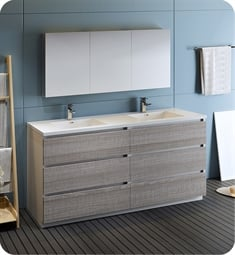 "Fresca FVN93-3636HA-D Lazzaro 72"" Ash Gray Free Standing Double Sink Modern Bathroom Vanity with Medicine Cabinet"