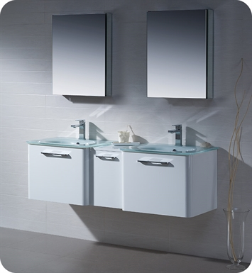 "Fresca FVN17241224WH Brillante 60"" Decor Planet Exclusive Double Sink Modern Bathroom Vanity in White"