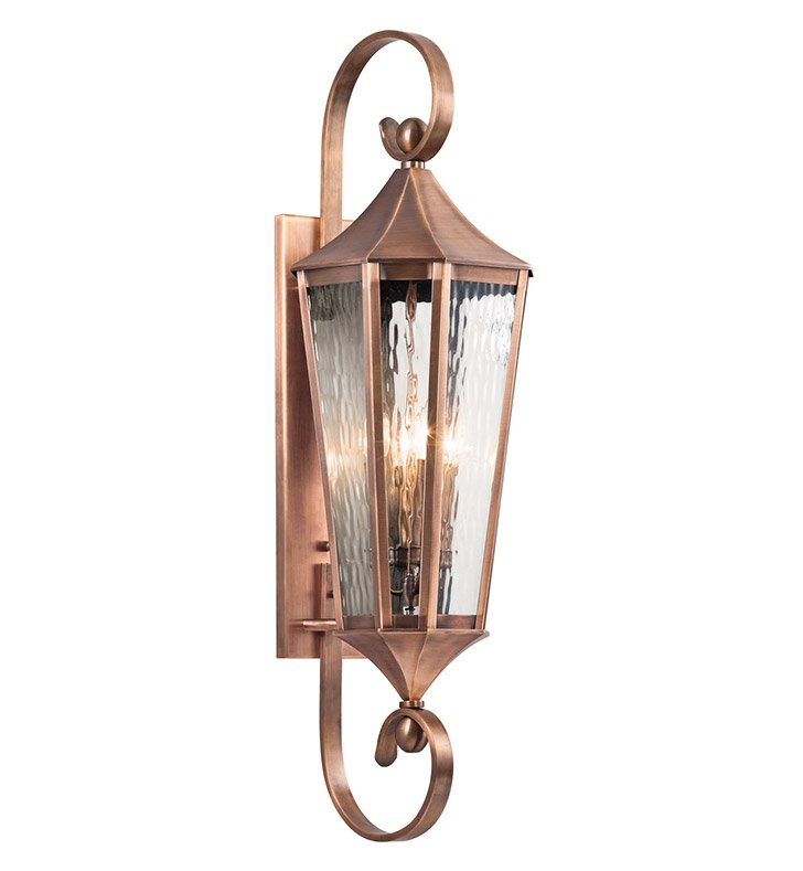 Kichler 49514ACO Stonebrook Collection 4 Light Large Outdoor Wall Sconce in Antique Copper
