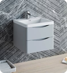 "Fresca FCB9024GRG-I Tuscany 24"" Glossy Gray Wall Hung Modern Bathroom Cabinet with Integrated Sink"