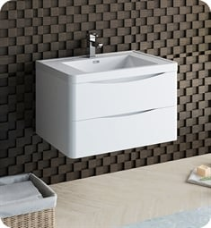 "Fresca FCB9032WH-I Tuscany 32"" Glossy White Wall Hung Modern Bathroom Cabinet with Integrated Sink"